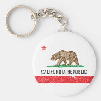 Bandera de California del vintage Llavero Redondo Tipo Pin