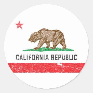 Bandera de California del vintage Etiquetas Redondas
