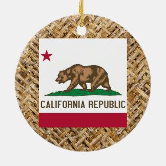Bandera de California en la materia textil Adorno Navideño Redondo De Cerámica
