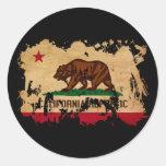 Bandera de California Etiqueta Redonda