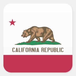 Bandera de California Pegatina Cuadrada