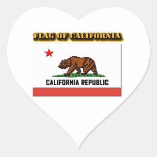 Bandera de California Pegatina De Corazón