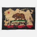 Bandera de California Toallas De Cocina