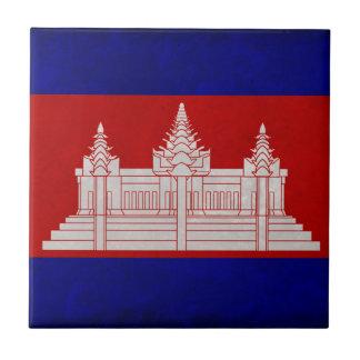 Bandera de Camboya Azulejo Cuadrado Pequeño