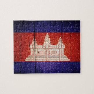 Bandera de Camboya; Camboyano; Khmer Rompecabeza Con Fotos