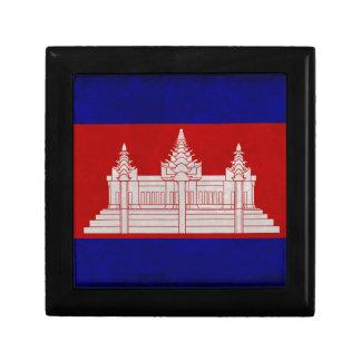 Bandera de Camboya Joyero Cuadrado Pequeño
