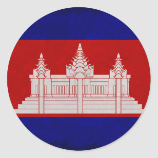 Bandera de Camboya Pegatina Redonda