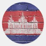 Bandera de Camboya Pegatinas Redondas