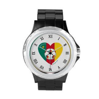 Bandera de CAMERÚN FÚTBOL de equipo nacional 2014 Relojes De Mano