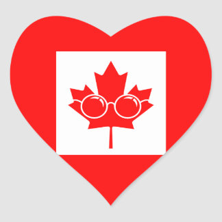 Bandera de Canad con los vidrios en arce Pegatina En Forma De Corazón