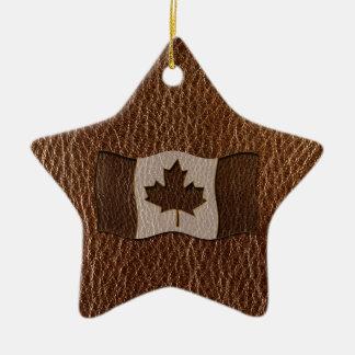 Bandera de Canadá de la Cuero-Mirada Adorno Navideño De Cerámica En Forma De Estrella