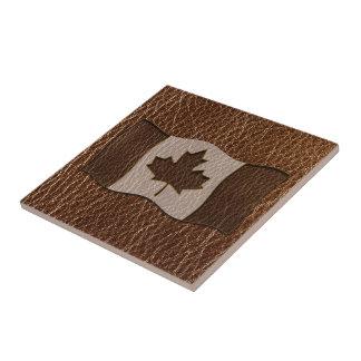 Bandera de Canadá de la Cuero-Mirada Azulejos Ceramicos