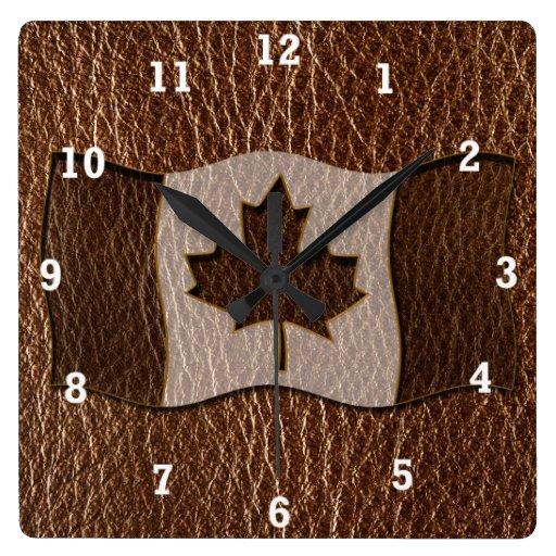 Bandera de Canadá de la Cuero-Mirada Reloj De Pared