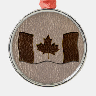 Bandera de Canadá de la Cuero-Mirada suave Adorno Navideño Redondo De Metal
