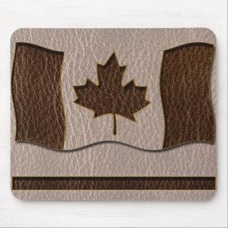 Bandera de Canadá de la Cuero-Mirada suave Alfombrillas De Ratón