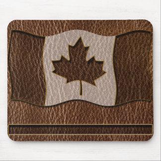 Bandera de Canadá de la Cuero-Mirada Tapetes De Ratón