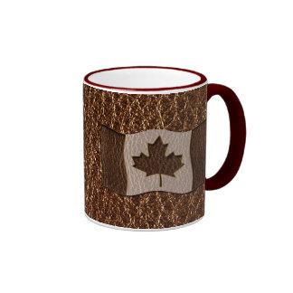 Bandera de Canadá de la Cuero-Mirada Taza De Dos Colores