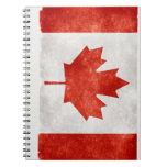 Bandera de Canadá del Grunge Libros De Apuntes