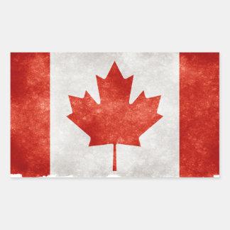 Bandera de Canadá del Grunge Pegatina Rectangular