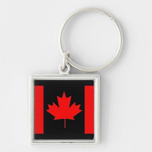 Bandera de Canadá, día feliz de Canadá Llavero Cuadrado Plateado
