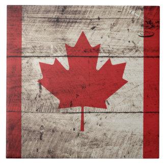 Bandera de Canadá en grano de madera viejo Azulejo Cuadrado Grande