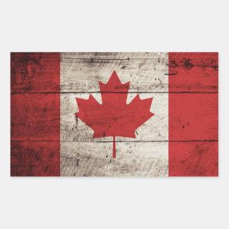 Bandera de Canadá en grano de madera viejo Rectangular Altavoces