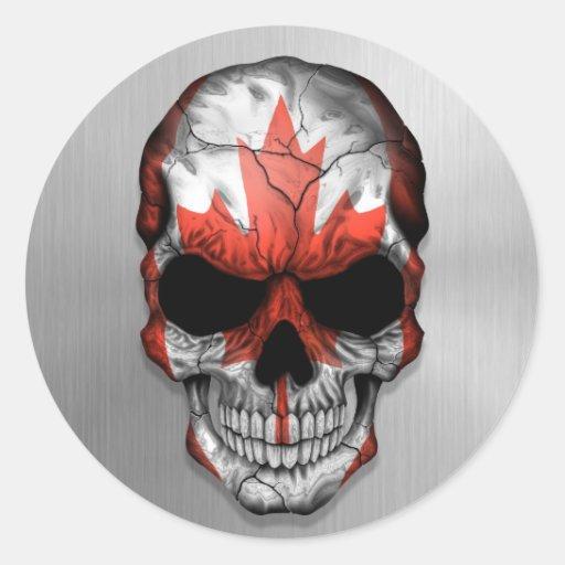 Bandera de Canadá en un gráfico de acero del Pegatina Redonda