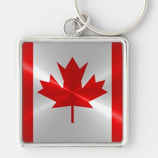 Bandera de Canadá Llavero Cuadrado Plateado