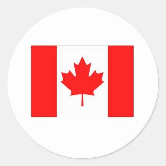 Bandera de Canadá Etiqueta Redonda