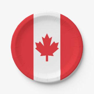 Bandera de Canadá Plato De Papel De 7 Pulgadas