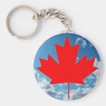 Bandera de Canadá y cielo azul Llaveros Personalizados