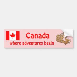 Bandera de Canadá y pegatina para el parachoques d Etiqueta De Parachoque