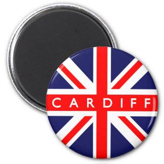 Bandera de Cardiff Reino Unido Imán Redondo 5 Cm