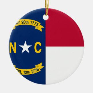 Bandera de Carolina del Norte Adorno Redondo De Cerámica