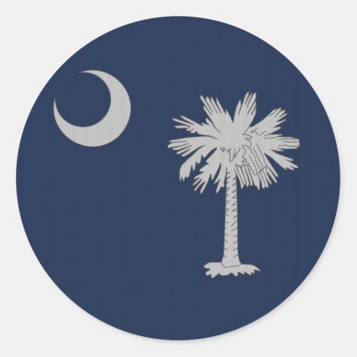 Bandera de Carolina del Sur - armadura apretada de Pegatina Redonda