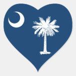 Bandera de Carolina del Sur Calcomanías Corazones