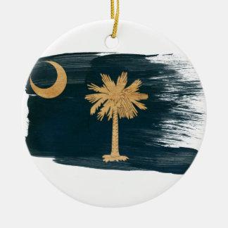 Bandera de Carolina del Sur Adorno Redondo De Cerámica