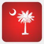 Bandera de Carolina del Sur (roja) Calcomanías Cuadradas