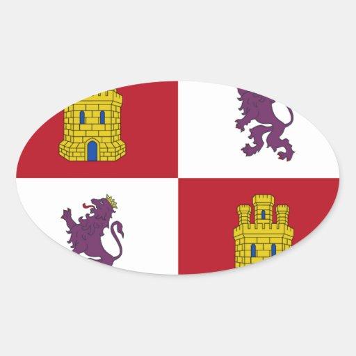 Bandera de Castilla y León (España) Calcomanía De Oval
