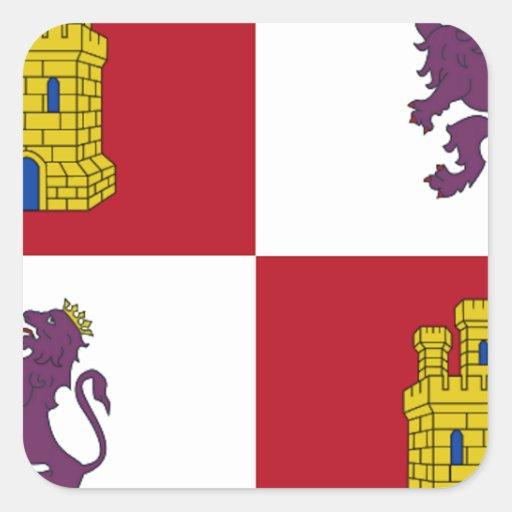 Bandera de Castilla y León (España) Calcomanía Cuadradas Personalizadas