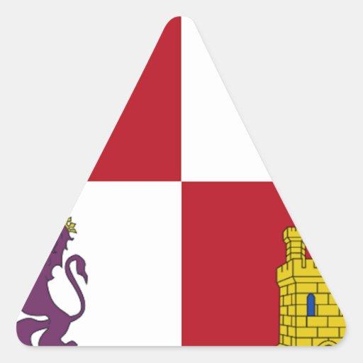 Bandera de Castilla y León (España) Pegatina De Triangulo