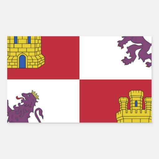 Bandera de Castilla y León (España) Rectangular Pegatinas