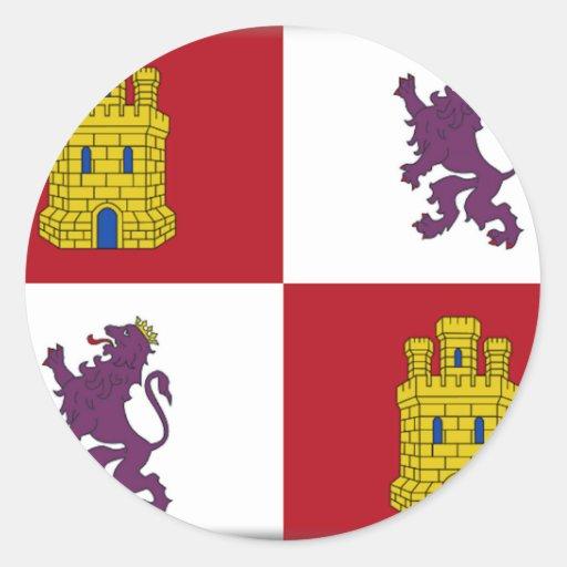 Bandera de Castilla y León (España) Etiquetas Redondas