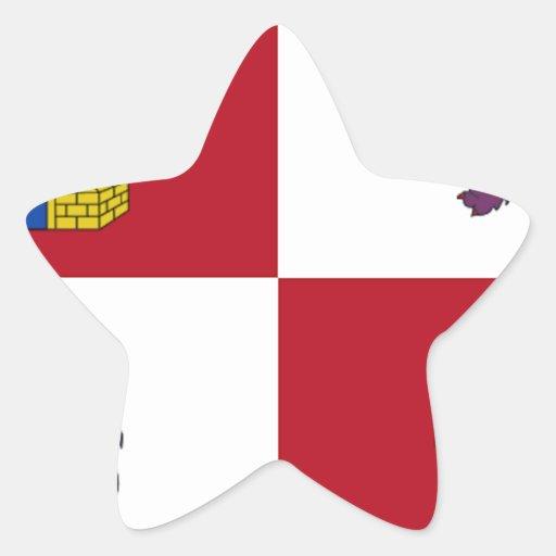 Bandera de Castilla y León (España) Calcomania Forma De Estrella