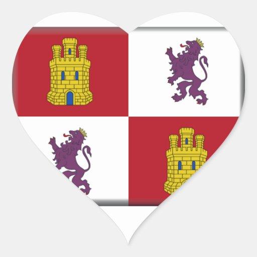 Bandera de Castilla y León (España) Calcomania De Corazon Personalizadas