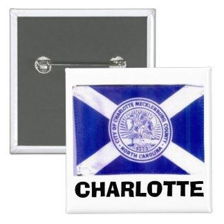 Bandera de Charlotte Carolina del Norte Pin Cuadrada 5 Cm