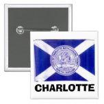 Bandera de Charlotte Carolina del Norte Pin Cuadrado