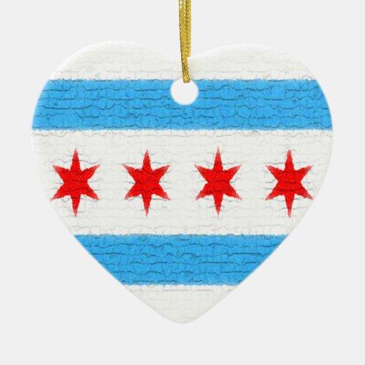 Bandera de Chicago Adorno Navideño De Cerámica En Forma De Corazón