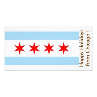Bandera de Chicago, buenas fiestas de los E.E.U.U. Plantilla Para Tarjeta De Foto