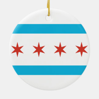 Bandera de Chicago Adorno Redondo De Cerámica